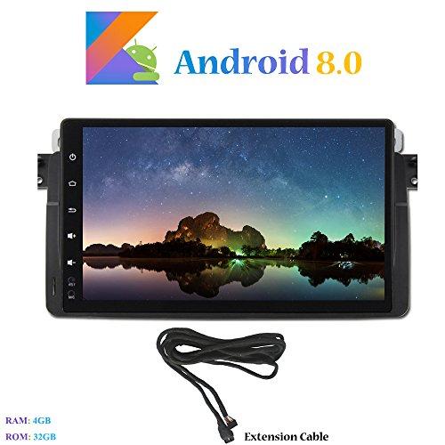 Android 8.0 Car Autoradio, Hi-azul In-dash 8-Core 64Bit RAM 4G ROM 32G Car Radio 9 Zoll Autonavigation Kopfeinheit Car Audio mit 1024 * 600 Multitouch-Bildschirm für BMW 3 Series-E46/ M3 Unterstützen Lenkradkontrolle, RDS Radio Tuner (mit Verlängerungskab