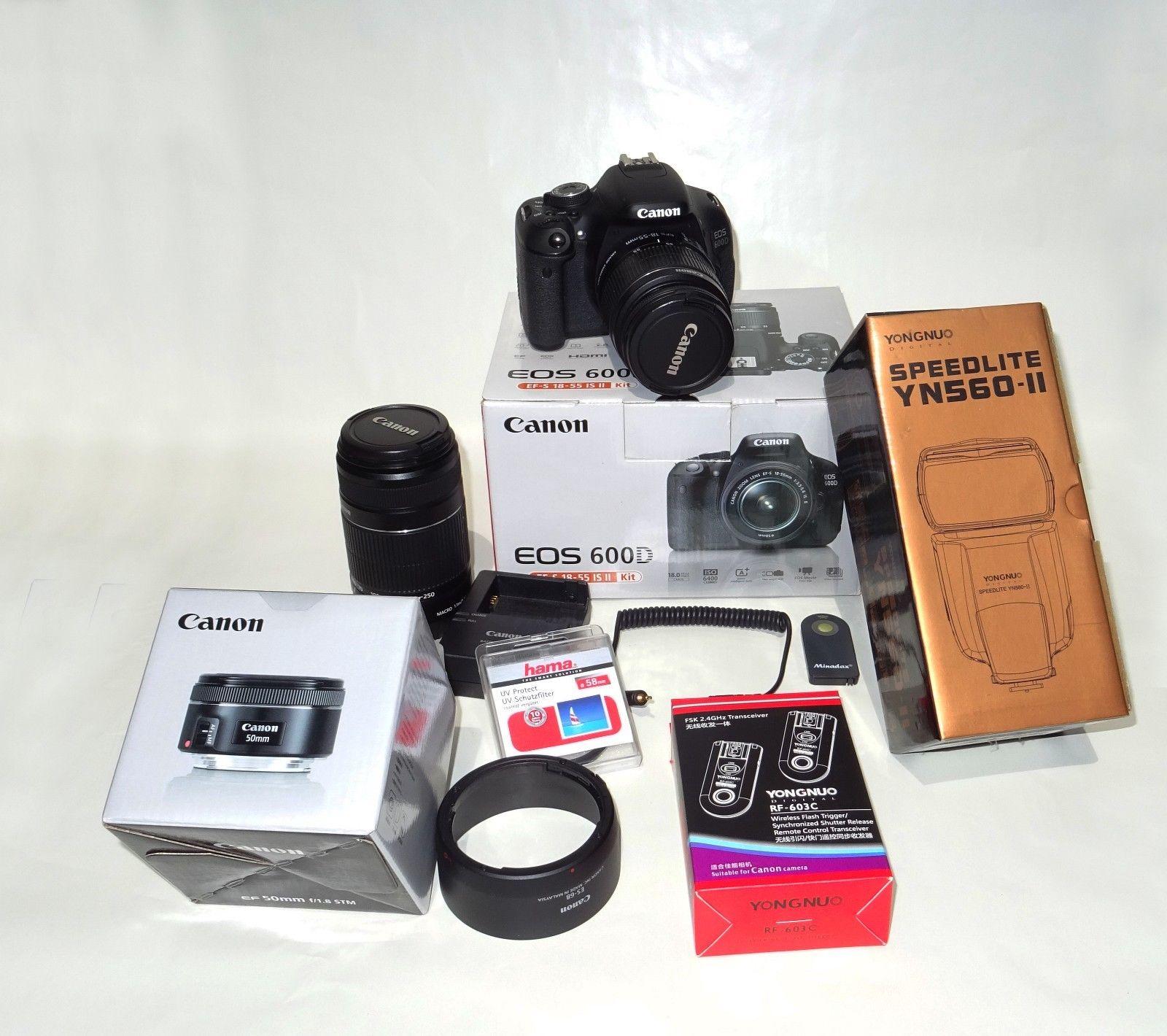 Canon EOS 600D EF-S 18-55 IS II Kit mit 55-250mm, 50mm Festbrenn.