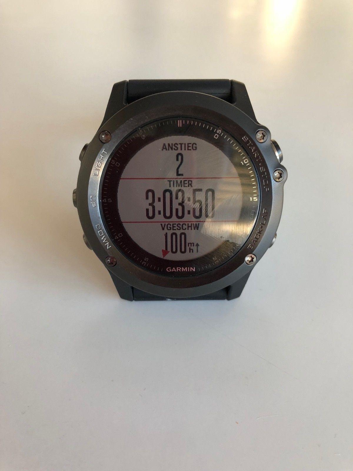 Garmin f?nix 3 Saphir HR 1,2 Zoll GPS-Multisportuhr mit Schwarzem Silikonarmband