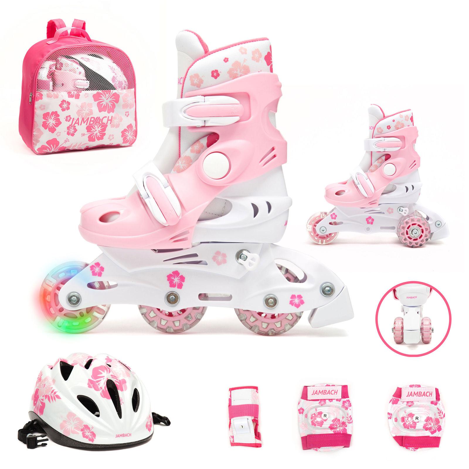 Inline Skate Set Kinder Inliner verstellbar Doppelrad Schutzset Rollschuh ABEC-3