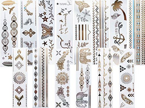 14 Lange Bögen Armbänder Metallic Gold Silber Türkis Tattoos Flash Tattoo Sticker
