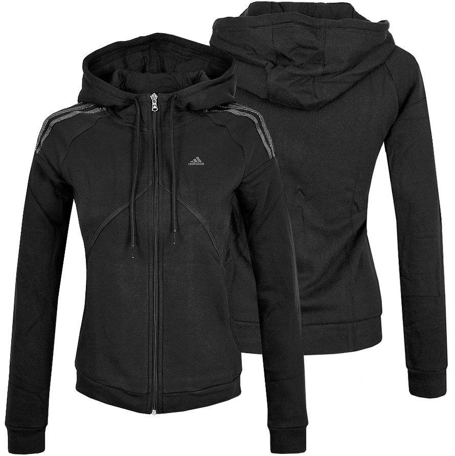 Adidas 3S FZ Hoody Damen Sweatjacke Trainingsjacke Kapuzen Jacke Hoodie schwarz