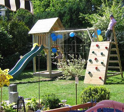 HOQ Spielturm Stelzenhaus Rutsche Schaukel Spielhaus aus Holz all Inclusive NEU