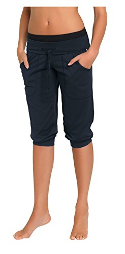 Gwinner Sporthose Fitnesshose Damen kurz - bequeme Hose mit Taschen, ideal für Fitness, Jogging, Yoga, Zumba - atmungsaktiv - Roma, grau, M