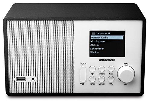MEDION E85040 MD 87540 Internetradio mit Fernbedienung (2,4 Zoll TFT Farb-Display, 40 Speicherplätze, Holzgehäuse, USB) weiß