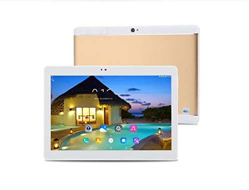Android Tablet 10,1 Zoll, 2560 * 1600 Full HD IPS Touchscreen 2 GB Speicher 64 GB Acht-Kern-CPU Dual-Kamera 2MP Und 8MP, Wifi Bluetooth GPS (Gold Und Silber),Gold,128G
