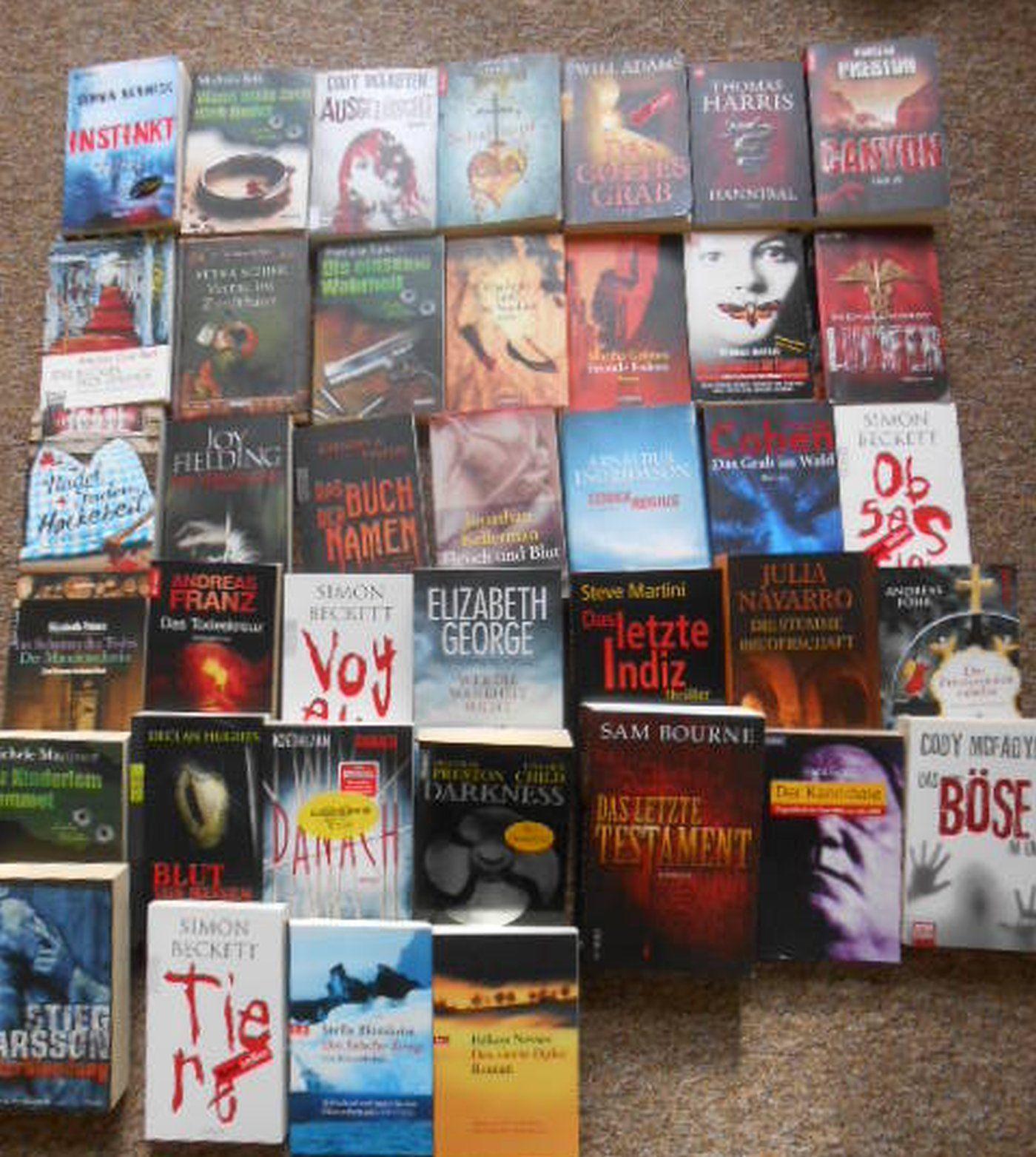Bücherpaket mit 41 Krimi, Thriller, überwiegend TB