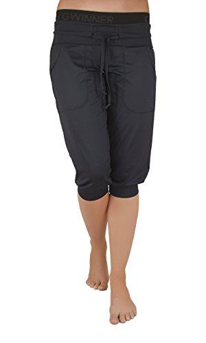 Gwinner Sporthose Fitnesshose Damen Kurz - Bequeme Hose mit Taschen, Ideal für Fitness, Jogging, Yoga, Zumba - Atmungsaktiv - Roma, Schwarz, XXL