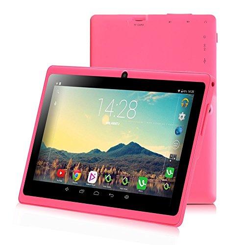 iRULU 7 Zoll Tablet Google Android 6.0 Quad Core 1024x600 Dual Kamera WI-Fi Bluetooth 1GB/8GB Play Store NetFilix Skype 3D Spiel Unterstützt Gms Zertifiziert mit Einem Jahr Garantie (New Pink)