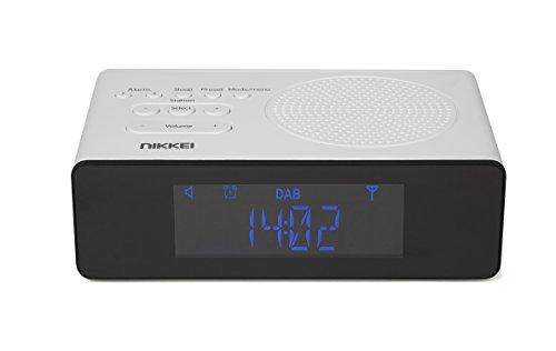 Nikkei NRDB15WE - Digital Radiowecker/Uhrenradio/Weckradio | DAB+ | FM | LCD Display | Automatische Sendereinstellung und Doppelte Weckzeit - Weiß/Schwarz