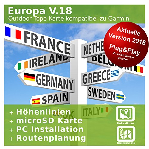 Europa V.18 - Profi Outdoor Topo Karte - Kompatibel zu Garmin Dakota 20, eTrex 20, eTrex 20X, eTrex 25, eTrex 30, eTrex 30X, eTrex 35 & Touch