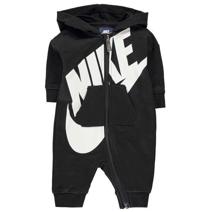 NEU Nike Baby Strampler Hoodie Kapuze Onesie Einteiler Overall schwarz 74/80