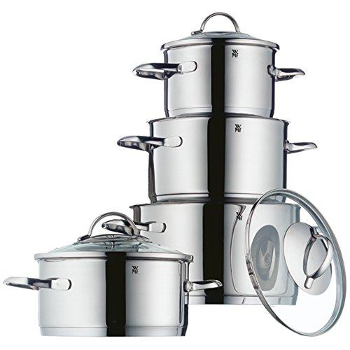 WMF Provence Plus Topfset, 4-Teilig, mit Glasdeckel, Kochtopf, Cromargan Edelstahl Poliert, induktionsgeeignet, spülmaschinengeeignet