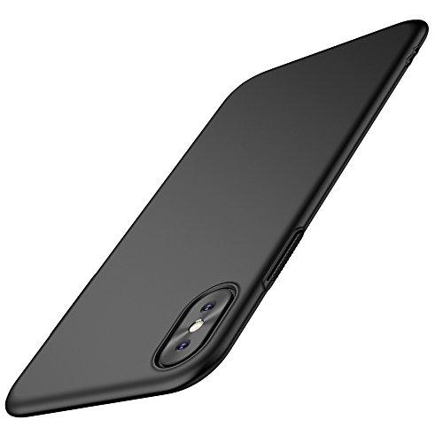 EIISSION iPhone X Hülle, iPhone X Case Hochwertigem Stoßfest Handyhülle PC Schutzhülle Anti-Kratzer Leichter Tasche für iPhone X Schwarz