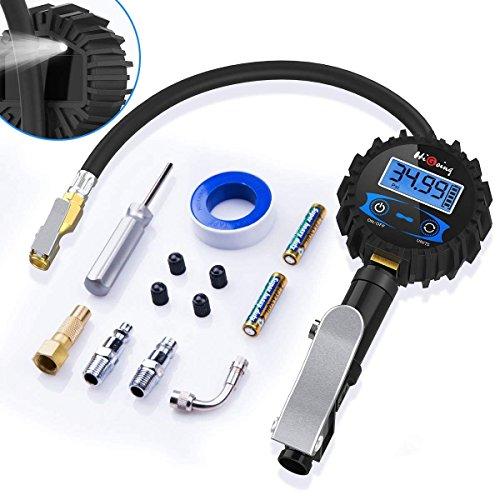 HiGoing Digital Reifenfüll-Messgerät, 250 PSI Reifendruckprüfer und reifenfüller mit LCD-Bildschirm für Auto Motorrad (Manometer-Messbereich 0-17.2 bar, Schlauchlänge 350 mm, Manometer Durchmesser: 65 mm)