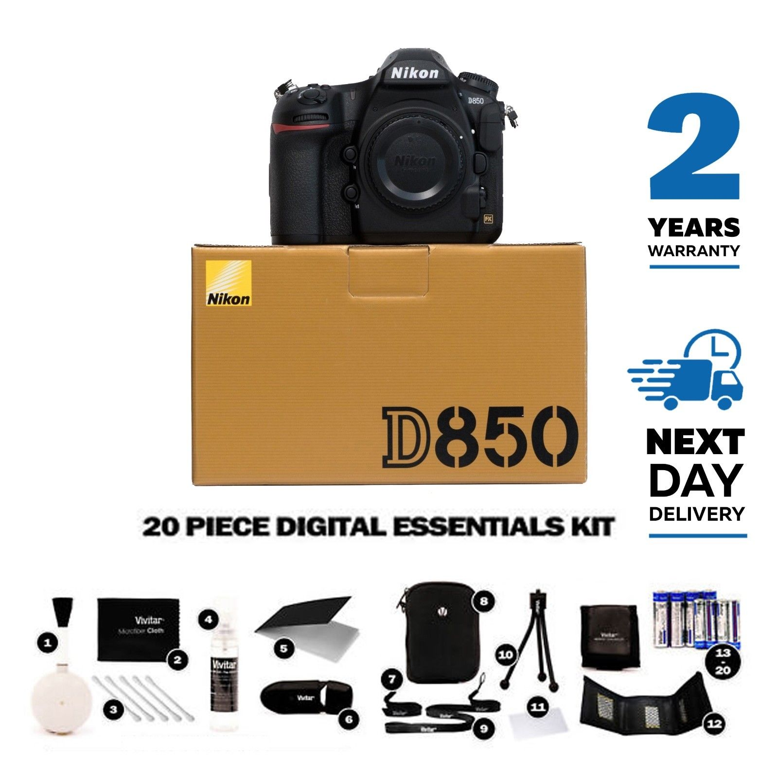 New Nikon D850 45.7MP DSLR Camera Body, Multi Languages, 2 Year Warranty