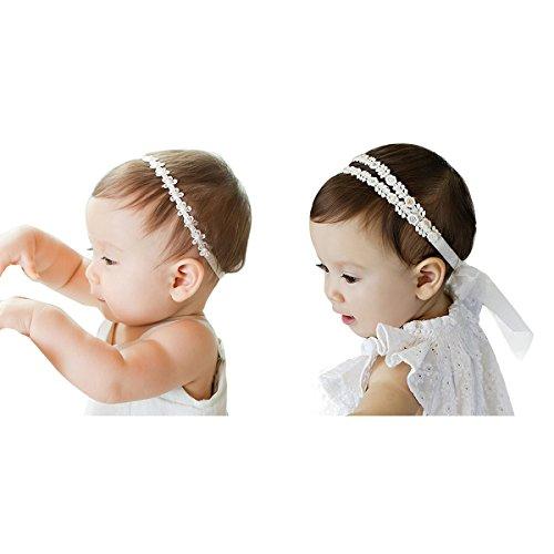 JMITHA 2 Stück Baby Stirnbänder Baby Mädchen Stretch Nett Kaninchenohren Gedruckt Turban Stirnband Kopf Verpackung Haarband