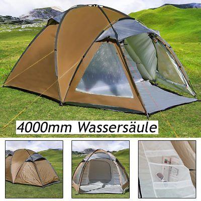 Zelt Kuppelzelt Igluzelt Campingzelt 3 Personen braun 4.000mm Wassersäule