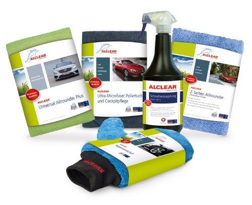 ALCLEAR 8201050 Autopflegeset für Tiefenglanz, mit Lack & Scheiben Trockentuch, Auto Poliertuch, Lackversiegelung, Felgenhandschuh, Cockpittuch