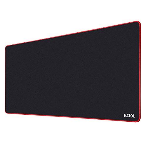 NATOL Gaming Mauspad, 900 x 400 mm Large Mouse Pad, Mausunterlage mit Gl, Rotatter Oberfläche, Anti Rutsch und Wasserfeste Unterseite aus Gummi, für Tastatur und Maus