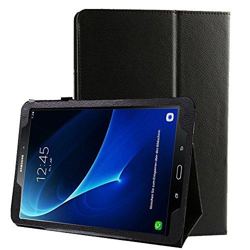 subtel Smart Case für Samsung Galaxy Tab A 10.1 (SM-T580/SM-T585) Kunstleder Schutzhülle Tasche Flip Cover Case Etui Schwarz