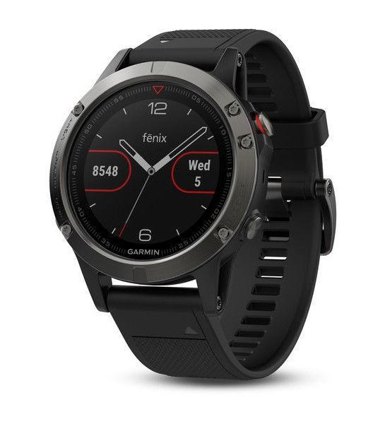 Garmin Fenix 5, GPS Multisport Smartwatch, Farbe Granit mit silbernen Lünete