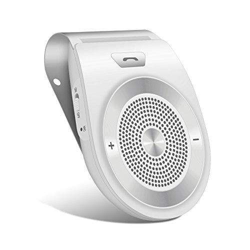 Aduds Auto Power on Kfz Freisprecheinrichtung Bluetooth Auto Car Kit Freisprechanlage mit eingebautem Bewegungssensor,Unterstützt GPS, Musik,Handsfree Wireless Speakerphone für 2 Telefone Weiß