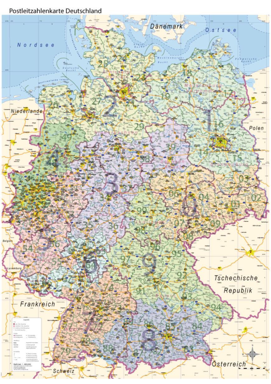 Postleitzahlenkarte PLZ Deutschland mit Bundesländern Wand Karte Poster A0, 2018