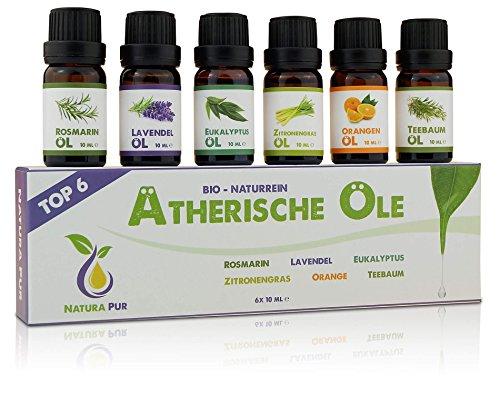 Natura Pur Ätherische Öle Set (Top 6) - 100% Bio naturrein - Duftöle für Diffuser und Aromatherapie, 6 x 10ml (Rosmarin, Lavendel, Eukalyptus, Zitronengras, Orange, Teebaum)