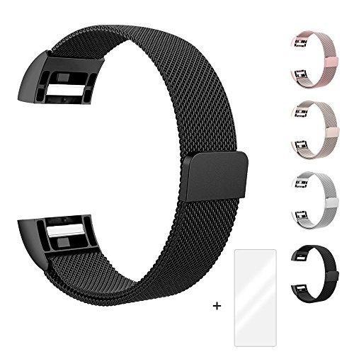 Fun Sponsor Fitbit Charge 2 Armband, Milanese Edelstahl Handgelenk Ersatzband Armbänder mit Magnet-Verschluss für Fitbit Charge2 Schwarz + Bonus Displayschutzfolie by