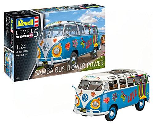 Revell 07050 - Modellbausatz Auto 1:24 - Volkswagen VW T1 Bulli Samba Bus Flower Power im Maßstab 1:24, Level 5, Orginalgetreue Nachbildung mit vielen Details -