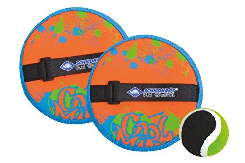 Schildkröt Funsports Schildkröt Catchball, Fangspiel, 2 Fangteller aus Neopren (Ø17cm), 1 (Ø6, 25cm) Klett Ball Set, Orange Blau