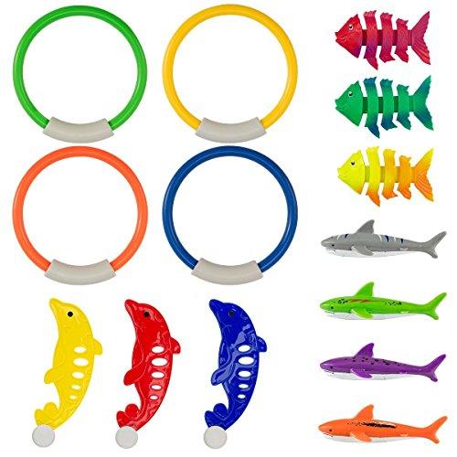 PAMASE 14 Stücke Tauchen Spielzeug Pool Spaß für Kinder, Inklusive 4 Tauchringe, 4 Tauchen Haien, 3 Tropisch Fisch und 3 Delphin Spielzeug