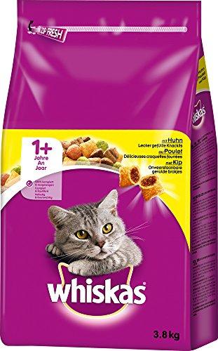 Whiskas Katzen-/Trockenfutter Adult 1+ für Erwachsene Katzen mit Huhn, 3 Beutel (3 x 3,8 kg)