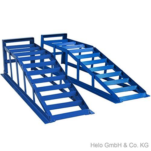 Helo 2 Stück KFZ Auffahrrampe blau je 2000 kg Belastung (max. 245 mm Reifenbreite), PKW Rampe Auffahrbock mit 23 Grad Auffahrwinkel und 235 mm Auffahrhöhe