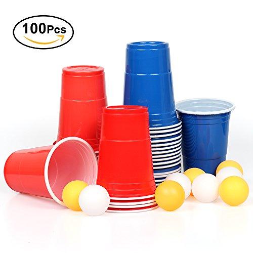100x Beer Pong Becher Partybecher Set Rote Plastikbecher Rot und Blau 473ml Bier Pong Cups Solo Cups mit Bällen | Wiederverwendbar |16 oZ für Getränke Party Camping Cocktail Bier Neues Jahr Weihnachten Geburtstag Festivals Hochzeit