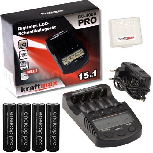 Kraftmax BC-4000 Pro Ladegerät und 4x Pansonic Eneloop PRO XX AA / Mignon Akkus - Neueste Generation - 2550 mAh Hochleistungs Akku Batterien in Kraftmax Akkubox V5