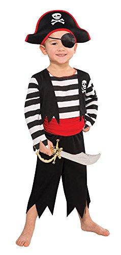 Piratenkostüm für Kinder - Schwarz, Rot, Weiß - S - Gr. 116 - 3-5 Jahre
