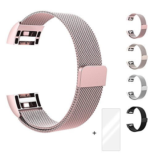 Fun Sponsor Fitbit Charge 2 Armband, Milanese Edelstahl Handgelenk Ersatzband Armbänder mit Magnet-Verschluss für Fitbit Charge2 Roségold + Bonus Displayschutzfolie by