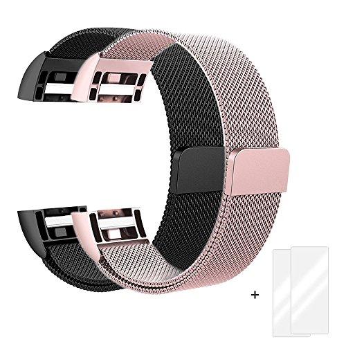 Fitbit Charge 2 Armband, Milanese Edelstahl Handgelenk Ersatzband Armbänder mit Magnet-Verschluss für Fitbit Charge2 Roségold + Schwarz + Bonus 2 Displayschutzfolie by Fun Sponsor