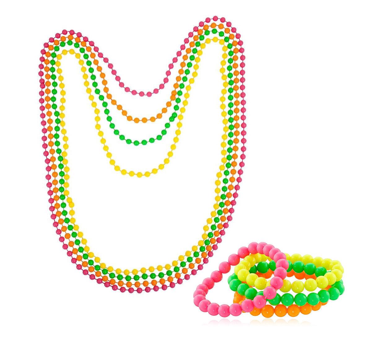 Neon Beads Necklace/Bracelet 80s Costume Accessory Bright Rave Fancy Dress