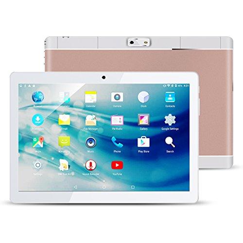 Qimaoo 10.1 Zoll Android Tablet Touchscreen, 1280 x 800 HD IPS Elegantes Display Quad Core Tablet PC mit Dual-Kamera mit Slot-SIM Karte, unterstützt WiFi, GPS, Bluetooth 4.0, Google Play Store, Youtube, Spiele (2GB RAM + 32GB ROM) (Rosegold)
