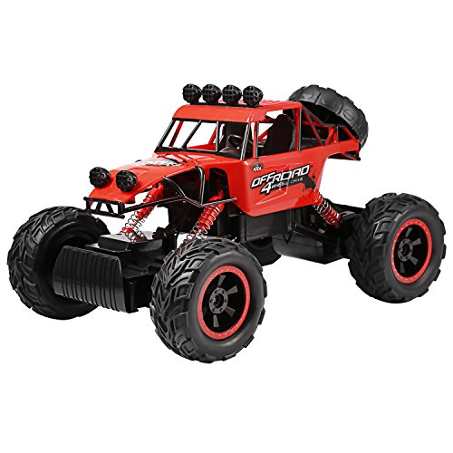Profun 4WD Rock Crawler RC Car Geländewagen Auto 1:18 Fernbedienung Monster Truck /Off Road Fahrzeug(Rot) (Rot8)