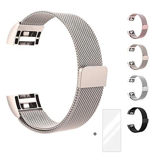 Fun Sponsor Fitbit Charge 2 Armband, Milanese Edelstahl Handgelenk Ersatzband Armbänder mit Magnet-Verschluss für Fitbit Charge2 Champagner + Bonus Displayschutzfolie by
