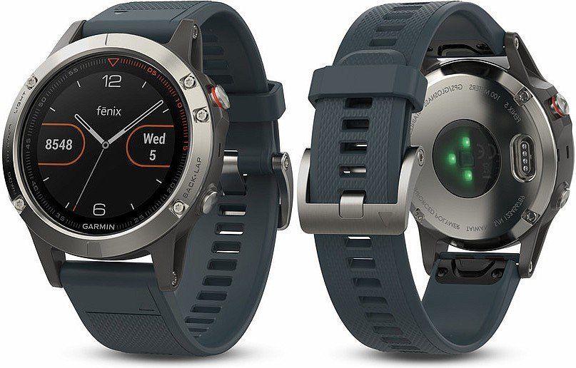 GARMIN Fenix 5 silber, GPS-Multisport-Smartwatch 24/7 Herzfrequenzmessung