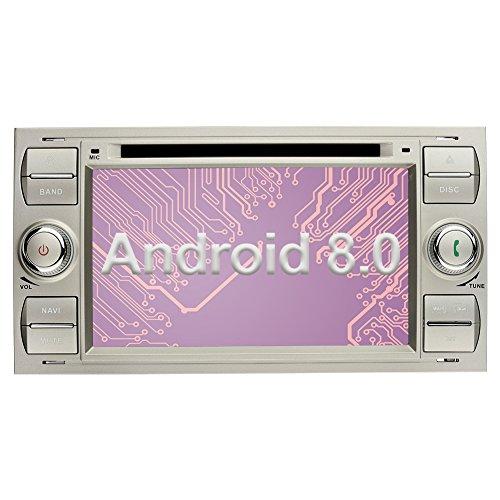 Ohok 7 Zoll Bildschirm 2 Din Autoradio Android 8.0.0 Oreo Octa Core 4G+32G Radio mit Navi Moniceiver DVD GPS Navigation Unterstützt Bluetooth WLAN DAB+ OBD2 für Ford C-Max/Connect/Fiesta/Focus/Fusion/Galaxy/Kuga S-Max/Transit Silber