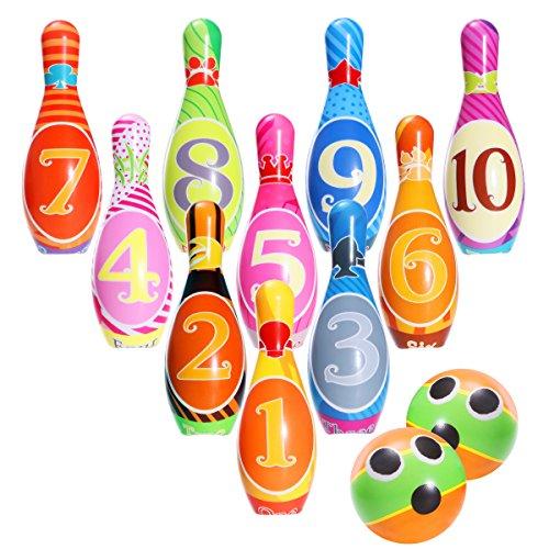 iBaseToy Kinder Bowling Set Kegelspiel Spiele Bowlingkugel Kegel Kinder Boule-Spiele für Pädagogische Spielzeug