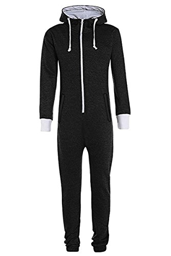 Unisex Jungen Kinder Plain Strampelanzug Zip up All in One Kapuzen Jumpsuit 7-13 (11-12, Schwarz)