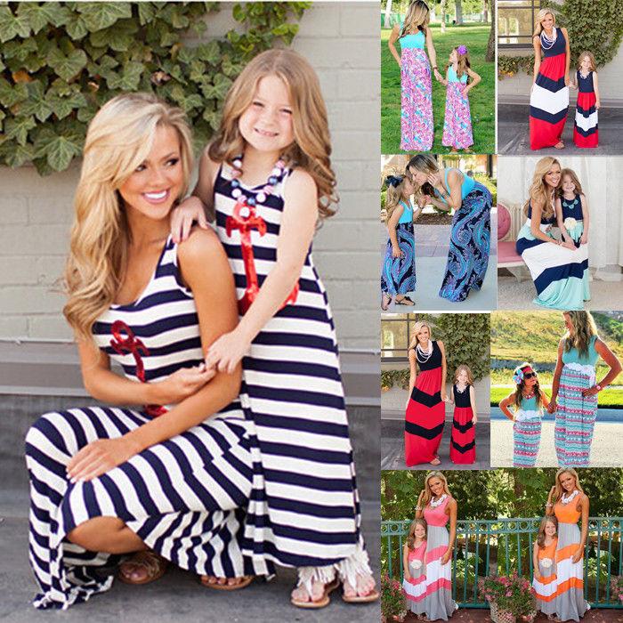 Baby Damen Mädchen Kleid Strandkleid Streifen Party Lang Kinder Sommer Maxikleid