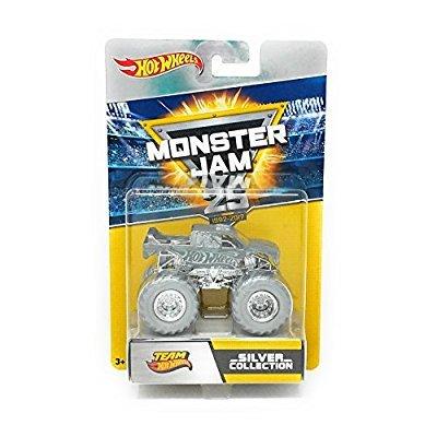 Hot Wheels Mattel FBW51 Monster Jam Anniversary Silver Fahrzeug, je 1 Fahrzeug, zufällige Auswahl